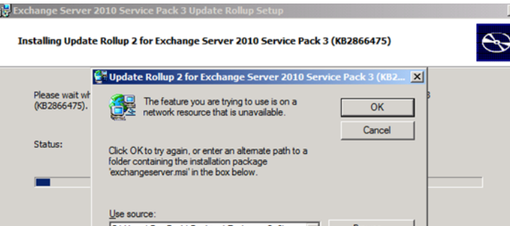 Exchange 2010 Rollup 2 SP3 update cannot find installation package exchangeserver msi
