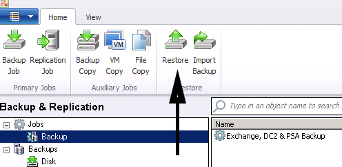 Restore Exchange in Veeam 7