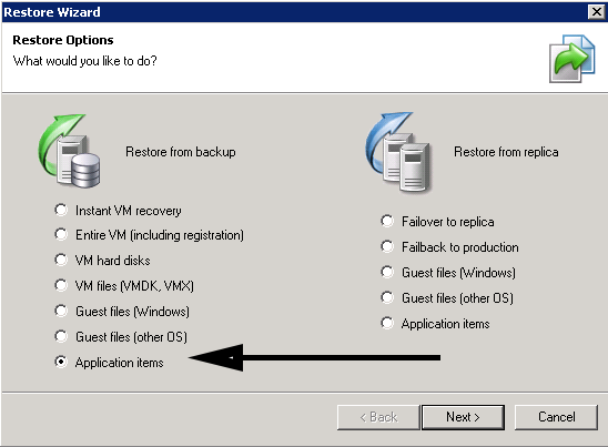 Veeam 7 restore from an application