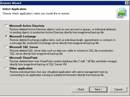 Veeam 7 restore wizard Exchange