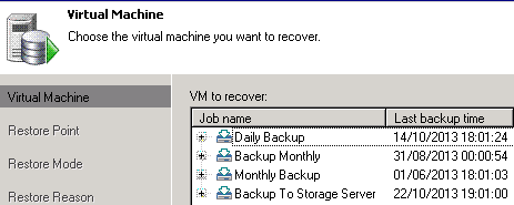 Veeam instant backup recovery jobs