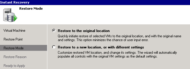Veeam restore to originial location