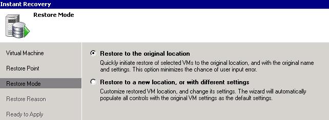 Veeam restore to originial location