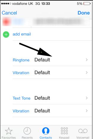 ios7 give contact individual ringtone