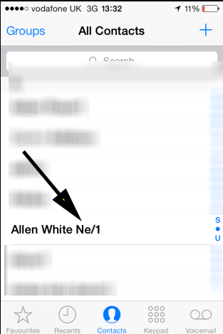 select contact in ios 7
