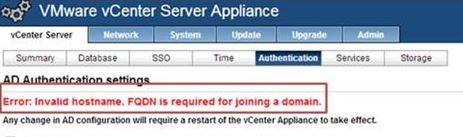 Error Invalid Hostname FQDN is required for joining domain