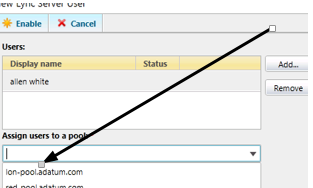 Lync 2013 add user to pool