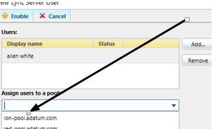 Lync 2013 add user to pool