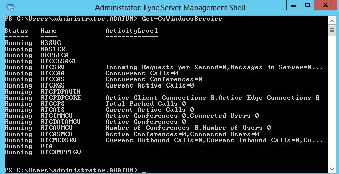Lync 2013 check service status