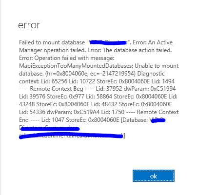 Exchange 2013 Failed to Mount 6th Database An Active Manager Operation Failed