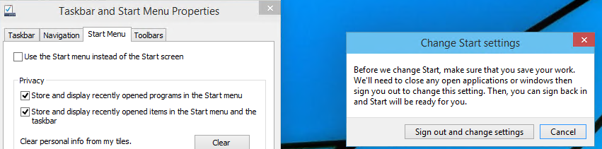 Windows 10 enable start screen