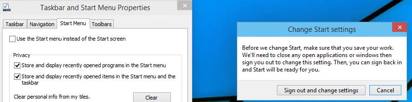 Windows 10 enable start screen