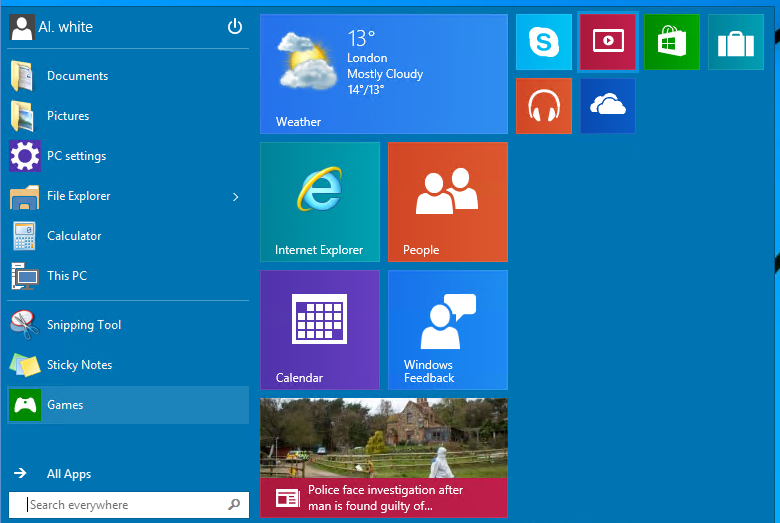 change location of windows 10 tiles