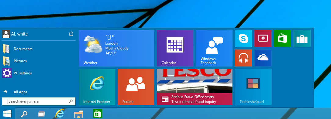 windows 10 resize the star menu
