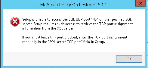 setup is unable to access udp port 1434