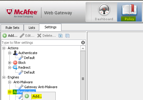 Add NTLM mcafee web gateway