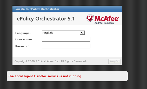 mcafee the local agent handler service is not running