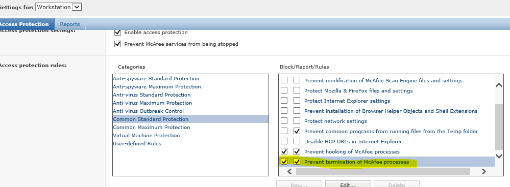mcafee epo blocks sccm