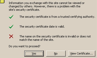 the name on the securuty certificate is invalid