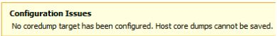 No coredump target has been configured Host core dumps cannot be saved