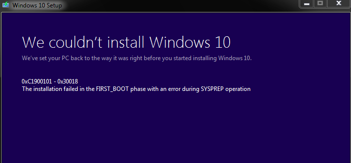 Windows 10 0xc1900101-0x30018
