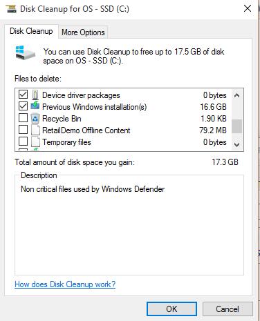 Windows 10 remove previous installations
