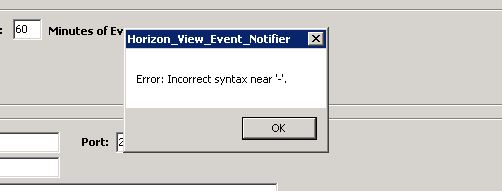 Horizon Event View Notify Syntax Error