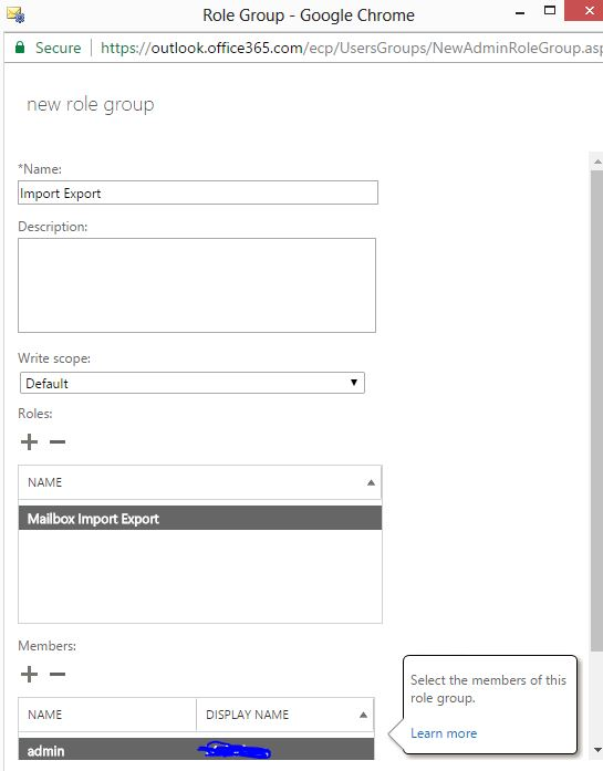 please add mailbox import export role office 365