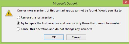 Try to repair the lost members and remove only those contacts that cannot be resolved