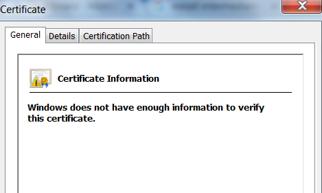 windows does not have enough information to validate the certificate
