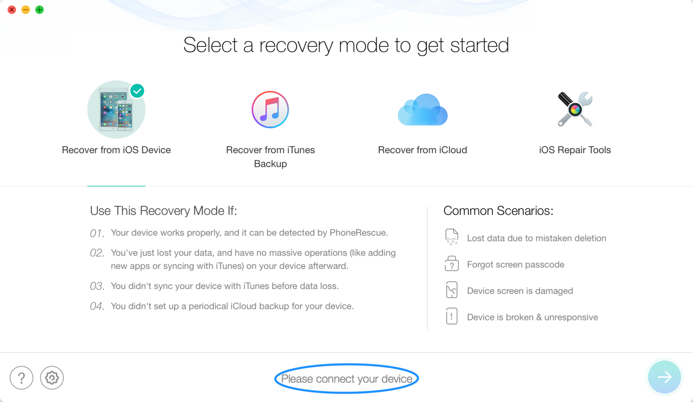How to Recover Lost Data on iPhone/iPad during Upgrading to iOS 13 via PhoneRescue - Step 1