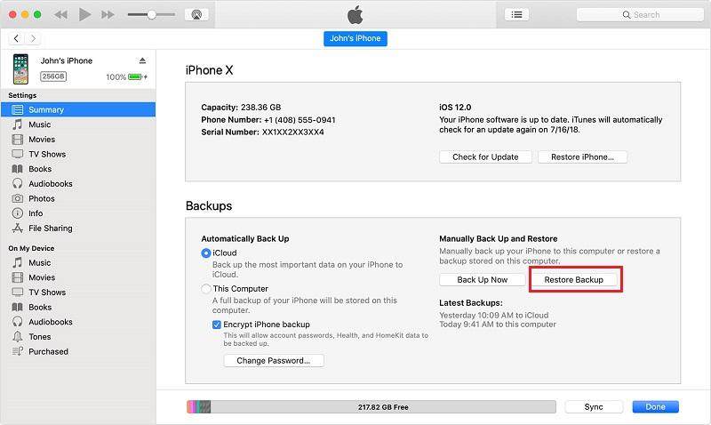 How to Recover Lost Data on iPhone/iPad during Upgrading to iOS 13 via iTunes - Step 2